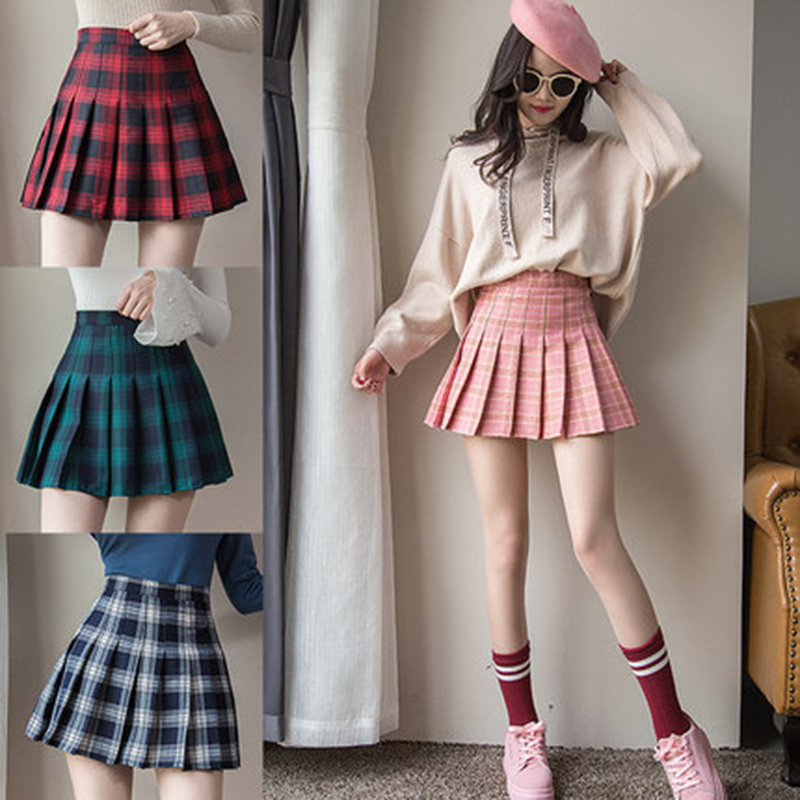 Fashion Women's England Elastic High Waist Tartan Pleated Skirt Autumn Winter Slim Mini Skirt Red School Uniform A-Line Skirts(China)