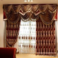 Custom curtain luxury living room noble European embroidered red thick chenille cloth blackout curtain tulle valance drapes B625