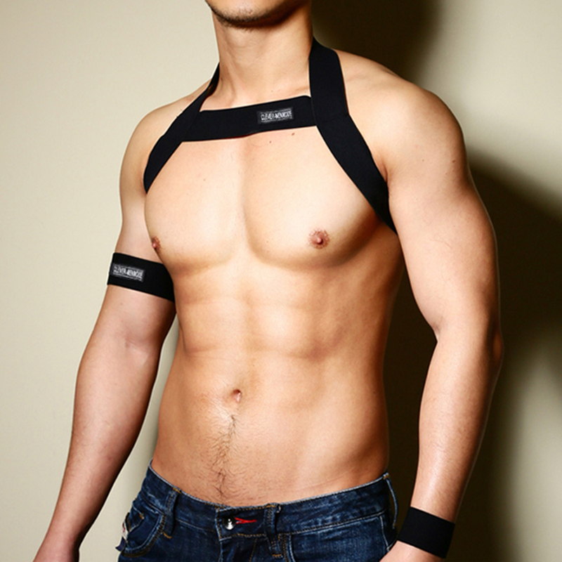 Hot Men Harness Body Chest Belt Lingerie Mens Sexy Elastic Shoulder Chest Strap Male Bondage Performance Costume With Arm Band