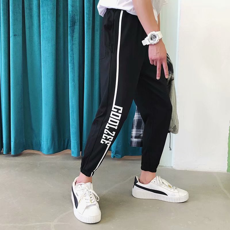 Korean-style Fashion Man CHIC Fashion Beam Leg Skinny Harem Pants Men Stripes Casual Capri Pants Summer Athletic Pants Thin