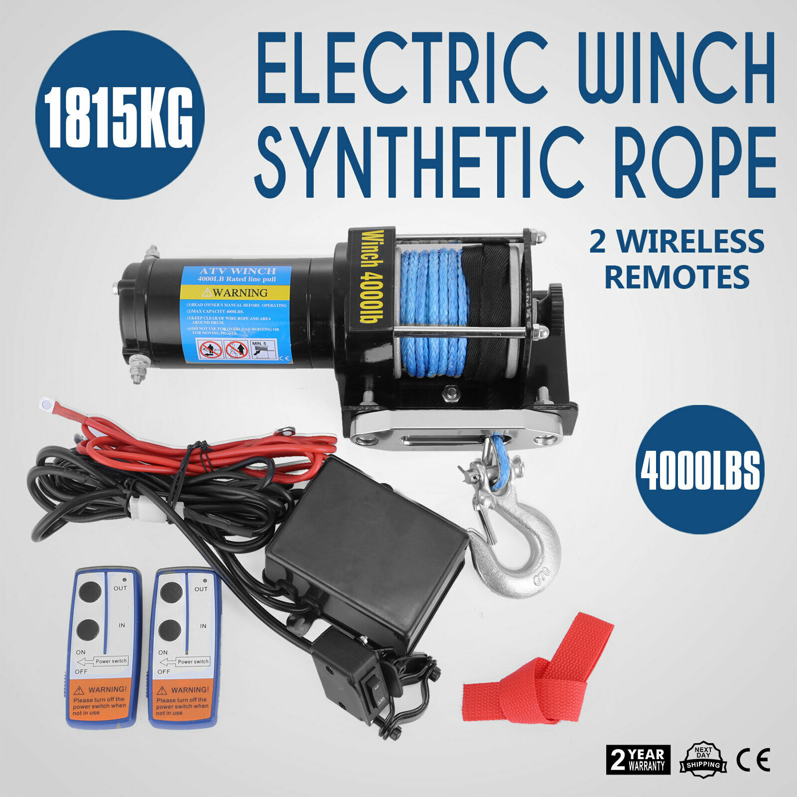 12V 2000LBS Electric Recovery Winch Steel Rope Held control For Boat /& Trailer