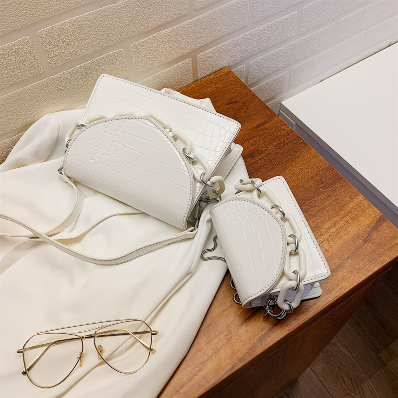 Two Sizes Acrylic Chain MINI PU Leather Crossbody Bags For Women 2020 Summer  Shoulder Handbags Female Travel Cross Body Bag