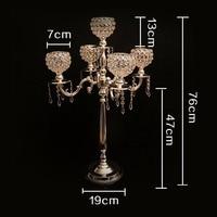 76cm Tall wedding candelabra wedding centerpiece 5 arms crystal candle holder wedding decoration 2 pcs/lot candle holder Europe