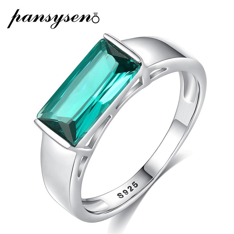 PANSYSEN 럭셔리 5x11MM 만든 Sona 에메랄드 보석 반지 진짜 925 스털링 실버 약혼 반지 파인 쥬얼리 선물