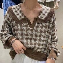 Женский короткий свитер в клетку стиле ретро повседневный свободный