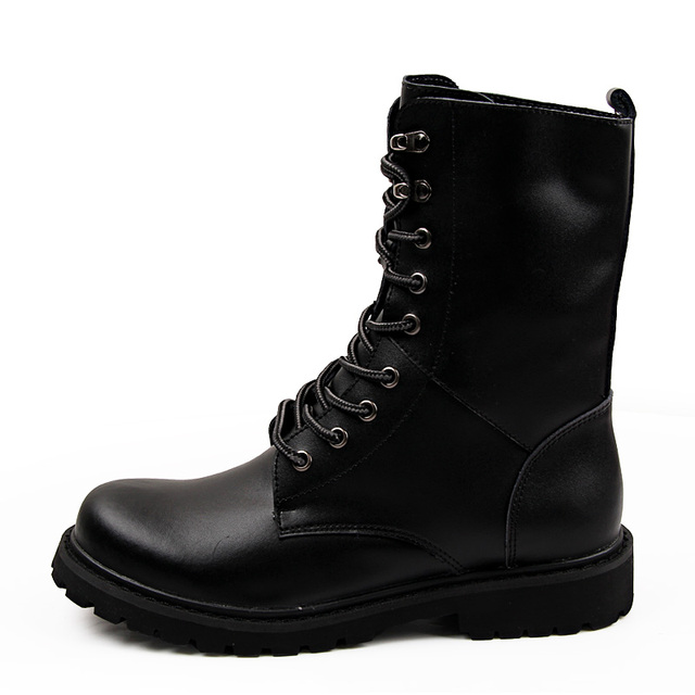 Military Tactical Ankle Boots Men Outdoor Leather Winter Fur Warm Man Boots Us Army Hunting Boots For Men Shoes Casual Black Bot 4
