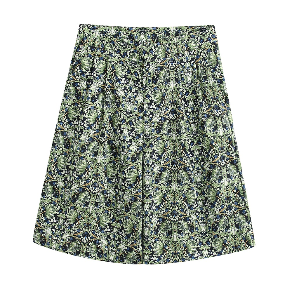 2020 Spring Women's New High Waist Draped Front Zip Pocket With Shorts Flower Print Casual Shorts 02527153500