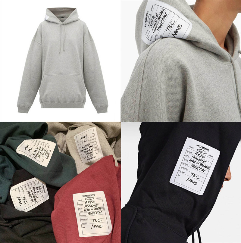 Oversize 19FW VETEMENTS Hoodies Men Women 1:1 High-quality Thick Patch Embroidery Black Gray VETEMENTS Hoodie Hooded