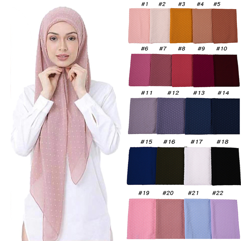 Plain Bubble Hairball Chiffon Hijab Scarf Women Solid Color Muslim Hijabs Scarves Long Shawls And Wrap Head Scarf Foulard Femme
