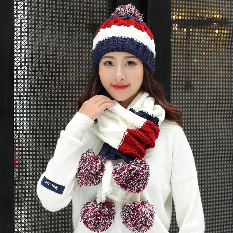 Women's Hat Skullies Beanie And Scarves Gloves Three Pieces Winter Hats For Women Scarf Glove Set Kitted Wool Beanie Keep Warm