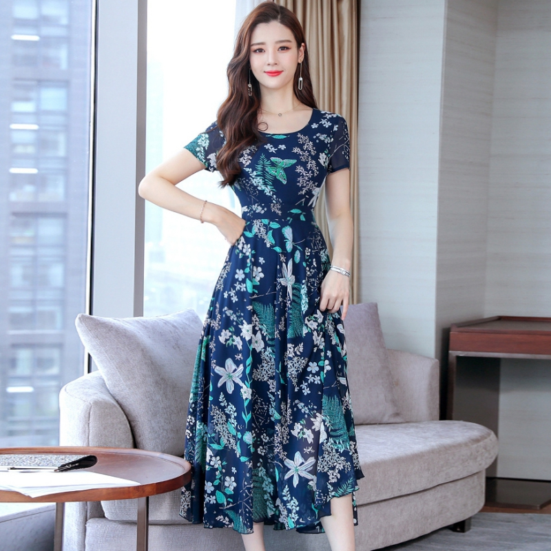 Flower Print Women Fashion Dress Summer Short Sleeve Boho Beach Dress Floral Casual Sundress