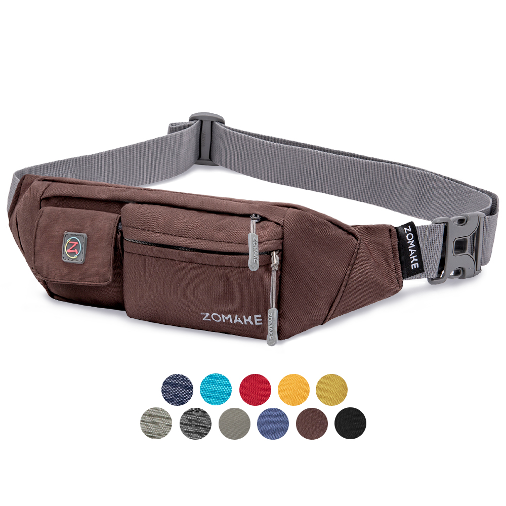 Zomake Waterfly Fanny Pack Slim Soft Polyester Water Resistant Waist Bag Pack For Man Women Carrying IPhone 8 Samsung S6