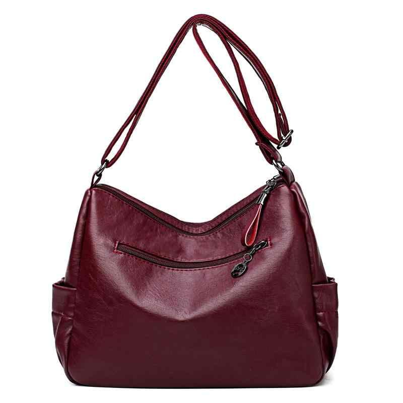 Mode Vrouwen Echt Lederen Handtassen Mummy Tas Toevallige Schouder Keten Zakken Dames Crossbody Tassen Vintage Messenger Bags N365