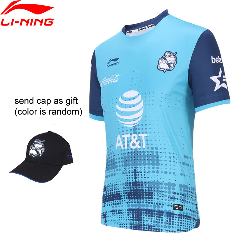 Li-Ning Men Puebla Club Soccer Goalkeeper T-Shirt AT DRY Breathable LiNing Li Ning Sport Competition Tees AAYN405 MTS3056