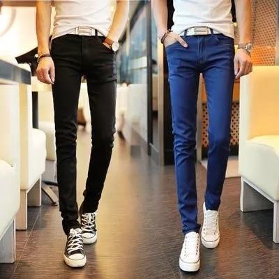 Spring Teenager Spring And Autumn Men's Slim Black Skinny Pants Jeans-Men'S Wear Elasticity Japanese-style Retro Students Greeni