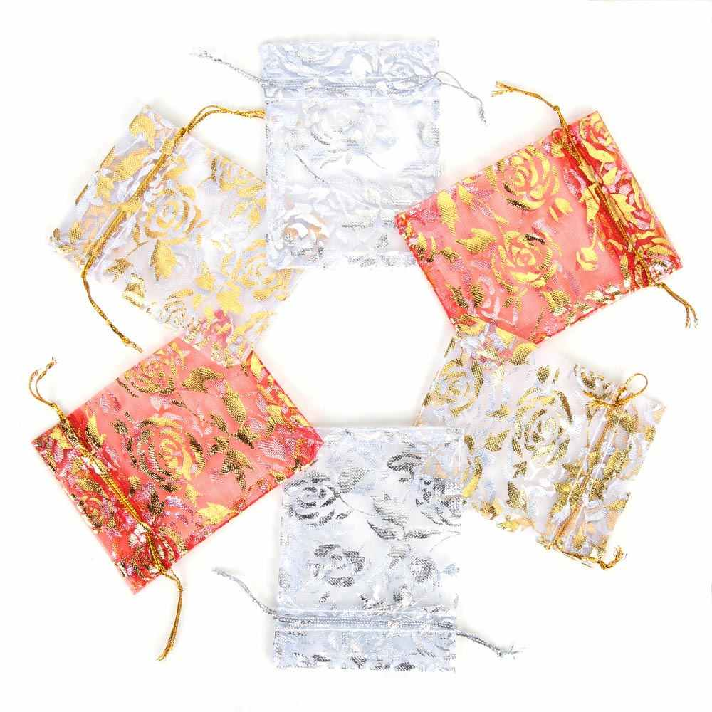10pcs Heart Organza Gift Bag Wedding Favor Drawstring Pouch Jewelry Bright Cute Candy Package Party Decoration 7x9 9x12 13x18cm