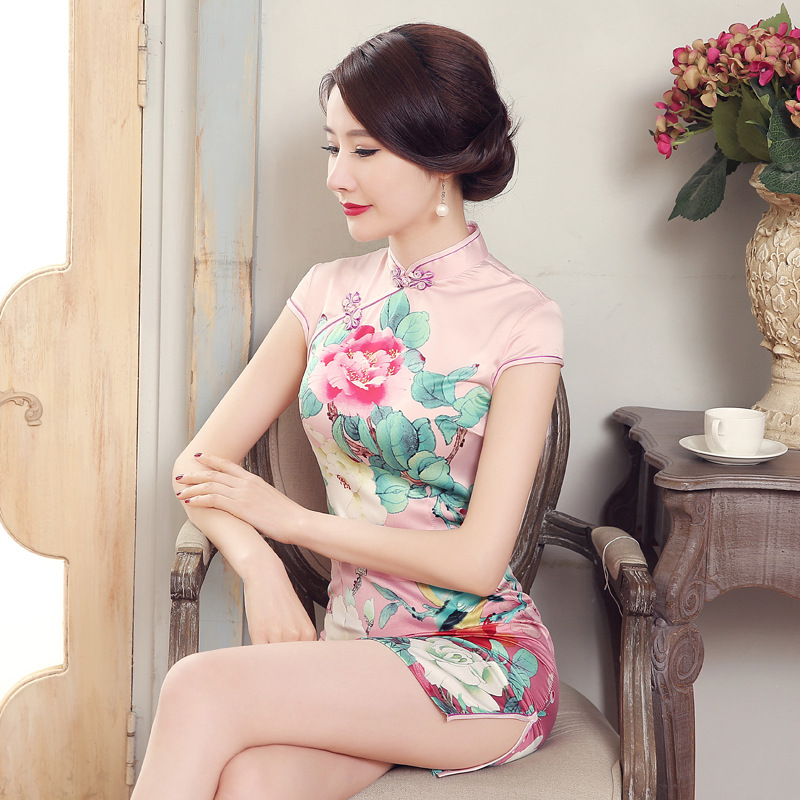 Wholesale New Style Short Cheongsam Peony Powder Spring Summer Dress Performance Costume Low Slit Special Offer LGD15
