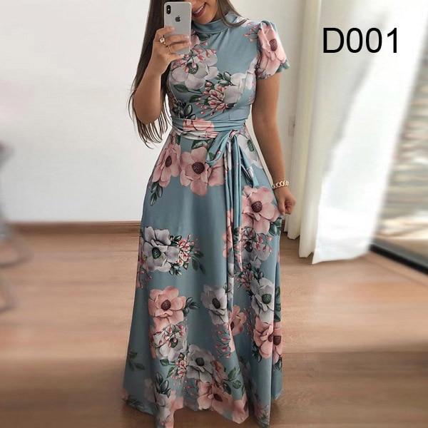 Plus size women's summer long super long dress 2020 casual long sleeve flower print dress casual high collar bandage Vestidos 10
