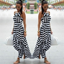 Bigsweety New Fashion Women Sexy Boho Striped Dress Summer Maxi Long Dr