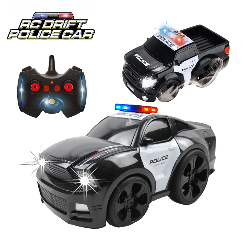 2.4GHz Speed Stunt 6 Channel RC Mustang Police Sports Car Toys Radio Remote Control Chase Drift Patrol Vehicle Light Sounds Boys