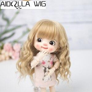 Aidolla 1/8 BJD & Kurhn Neue puppe perücke weiche faser geboren baby Bob Haar für 14-15cm durchmesser puppe