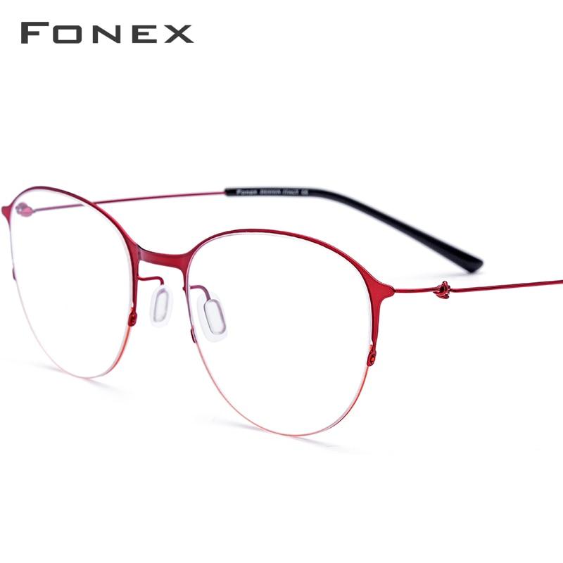 FONEX Titanium Alloy Glasses Men Round Eyeglasses Frame Women Prescription Myopia Optical Frame Korean Screwless Eyewear 98612