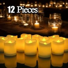 12/24Pcs Creative LED Candle Lamp Battery Powered Flameless Tea light Home Wedding Birthday Party Decoration Supplies Dropship недорого