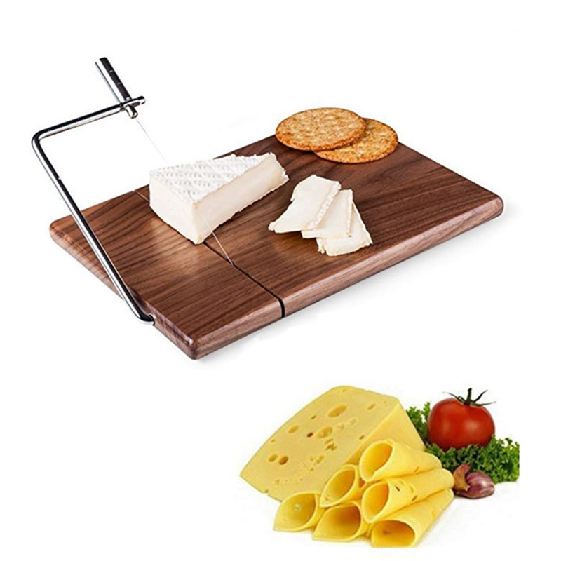 Cheese Slicer, Sapele Wood Cheese Cutter With Durable Wire Cutting Board, Cheese Butter Dessert Food Slicer