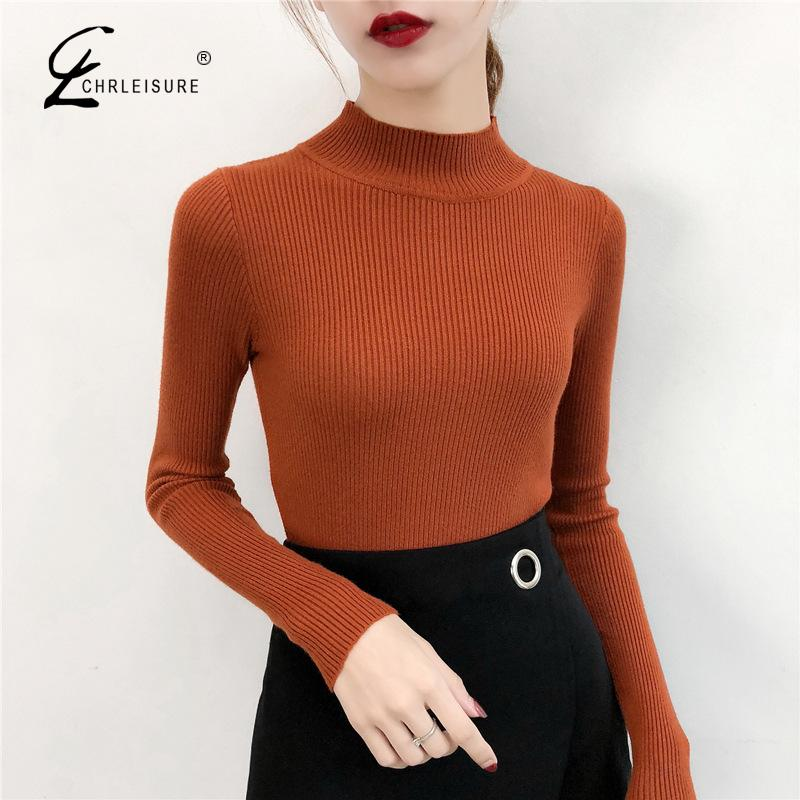 CHRLEISURE Mandairin Collar Tight Woman's Knit Sweater Long Sleeve Solid Color Female Sweater 2019 New Fashion Woman Clothes