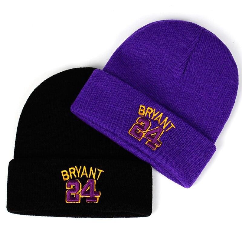 BRYANT Embroidered Winter Hat Beanie 24 Cotton 3D Mamba Knit Kobe Bryant Hat Skullies Beanie Hat Hip Hop Outdoor Hats