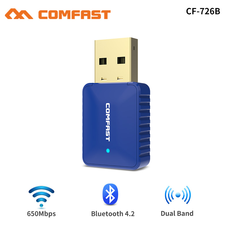 5Ghz Wireless Wifi Adapter 650Mbps Dual Band Antenna 802 11AC Free driver USB Bluetooth 4 2 Adapter Network Card wi-fi receiver