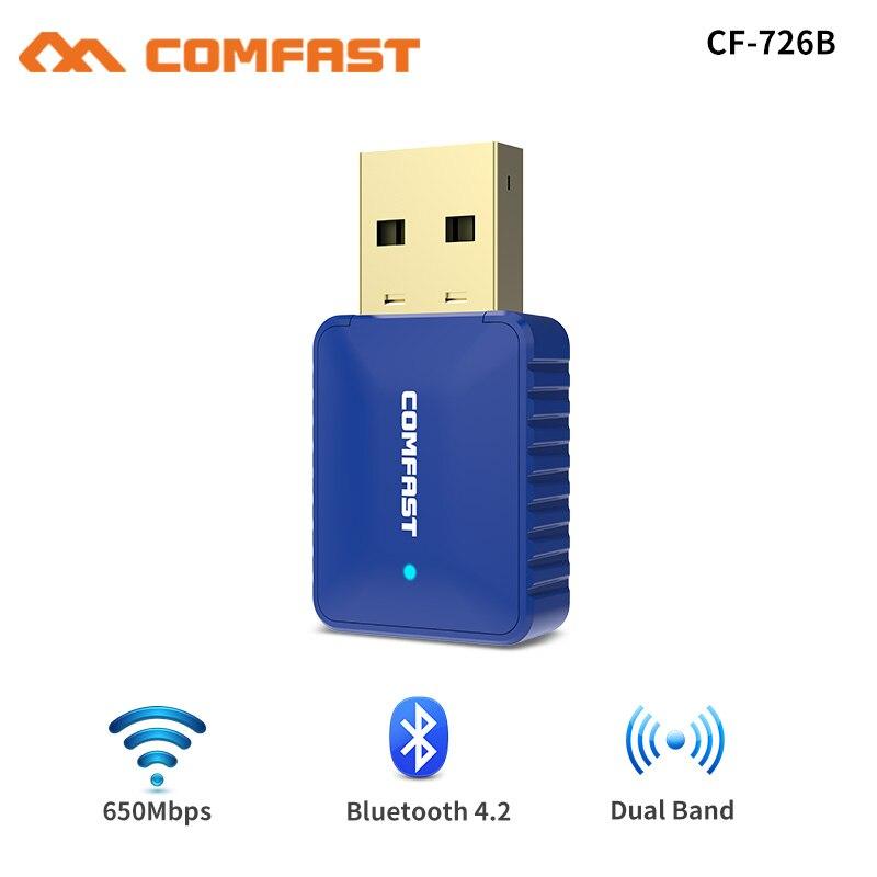 Adaptateur Wifi sans fil 5Ghz 650Mbps antenne double bande 802.11AC pilote gratuit USB Bluetooth 4.2 adaptateur carte réseau récepteur wi-fi