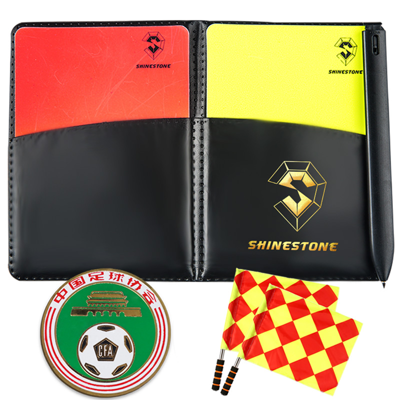 Red Yellow Cards Leather Case Notebook Soccer Linesman Flags Referee Flags Edge Finder Toss Referee Side Coins