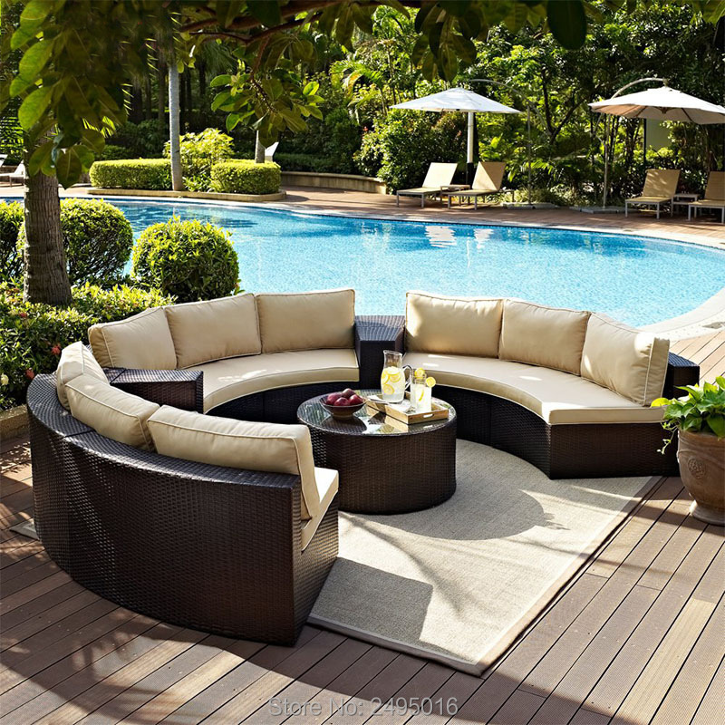 6pcs Patio Outdoor Furniture Sets,Low Back All-Weather Rattan Sectional Sofa With Tea Table Washable Couch Cushions