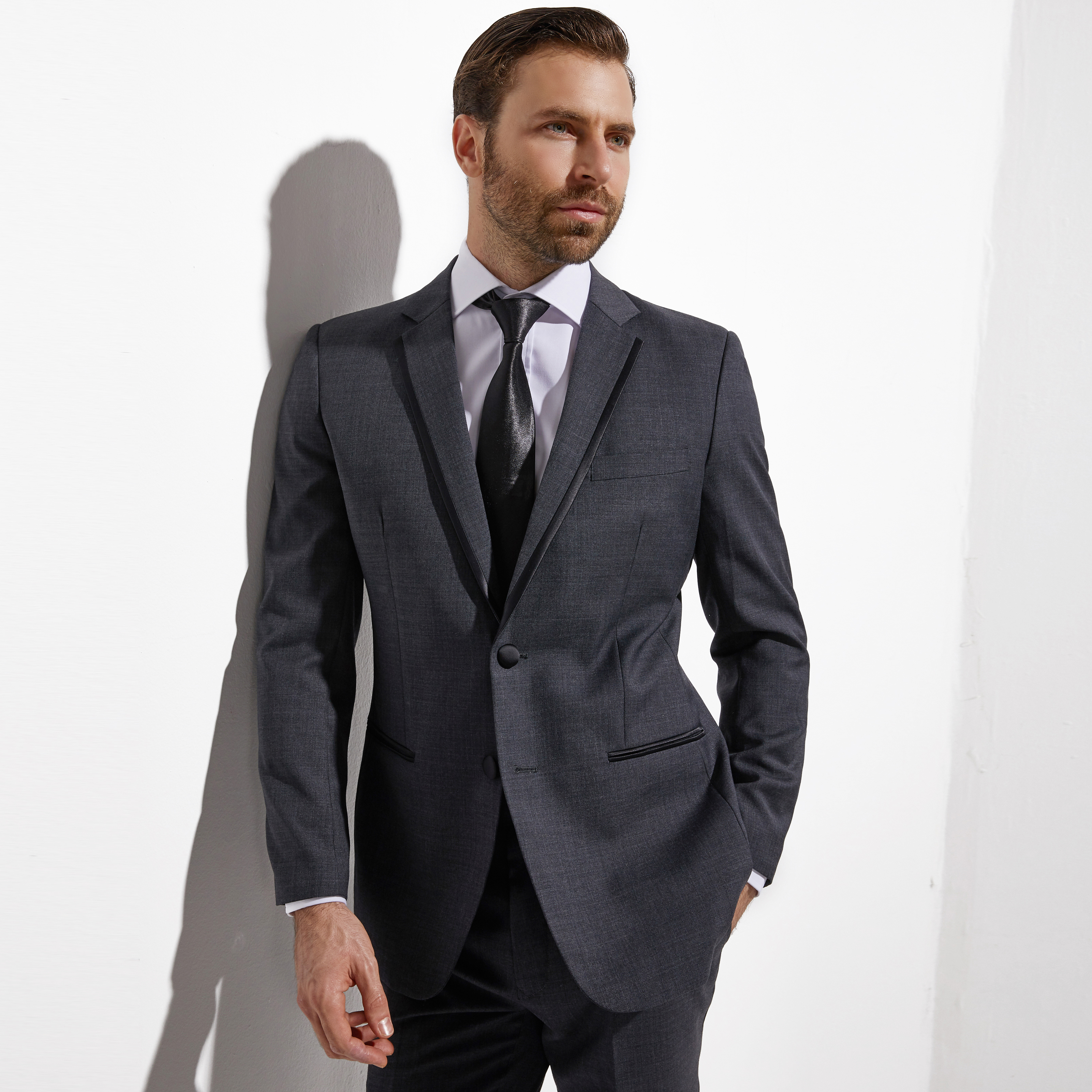 2020 Middle Grey Wedding Tuxedo For Men Custom Made Slim Fit Gray Groom Tuxedo Evening Tailored Latest Wedding Suits For Men