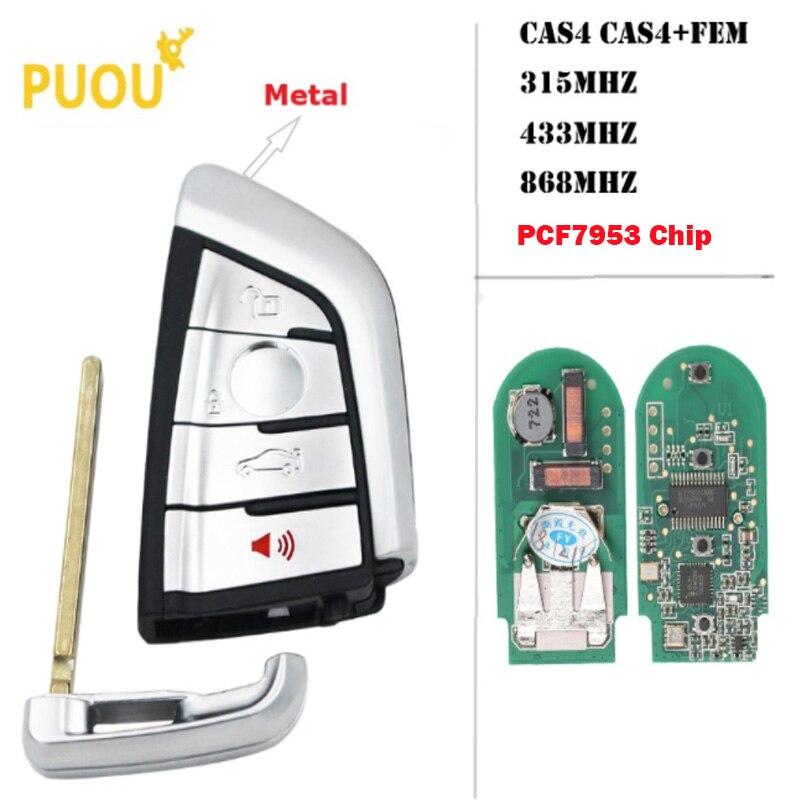 Otomobiller ve Motosikletler'ten Araç Anahtarı'de 4B beyaz modifiye akıllı uzaktan anahtar Fob 315 MHz/434 MHz/868 MHz PCF7953 BMW CAS4 CAS1 2 3 4 5 6 7X5X6 CAS4 + FEM 2011 2017 title=