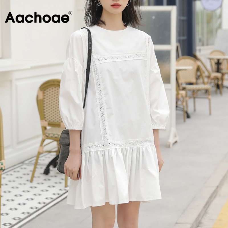 Aachoae O Neck Embroidery Patchwork Mini Dress Batwing Sleeve Loose White Dress Lady Hollow Out Chic Pleated Dresses Ropa Mujer