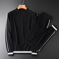 Quality Men Hight Soft Comfortable 2 piece Sweater Male Fashion Round Collar Solid Color Slim Fit Mens Sweaters