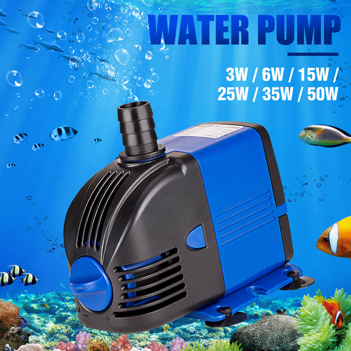 Submersible Aquarium <font><b>Water</b></font> <font><b>Pump</b></font> 3/6/15/25/35/50W Fish Tank Powerhead Fountain Hydroponic Ultra-quiet <font><b>Water</b></font> <font><b>Pumps</b></font> AC220-240V image