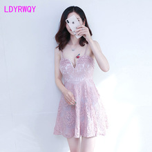 2019 autumn new Japanese style sexy lace low chest strap nightclub deep v small umbrella dress