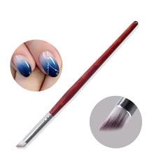 1pc profissional unha arte desenho caneta escova de madeira vermelha escura lidar com manicure pedicure escova cabelo macio ombre gradiente ferramentas do prego