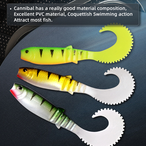 MEREDITH 70mm 90mm 110mm Cannibal Curved Tail Fishing Lures Artificial Wobblers Soft Baits Silicone Shad Worm Bass leurre souple(China)