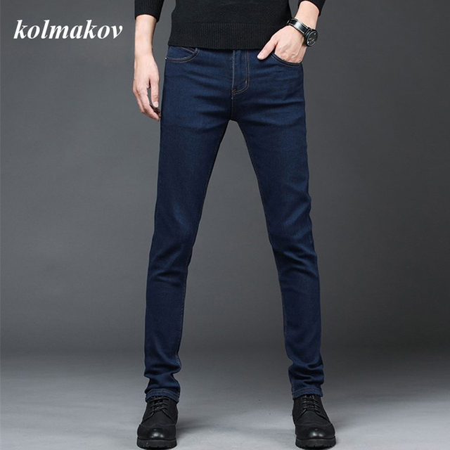 2020 New Arrival Men's Denim Jeans Straight Full Length Pants with High Elasticity Slim Pants Man Fashion Mid-waist Jeans men 2