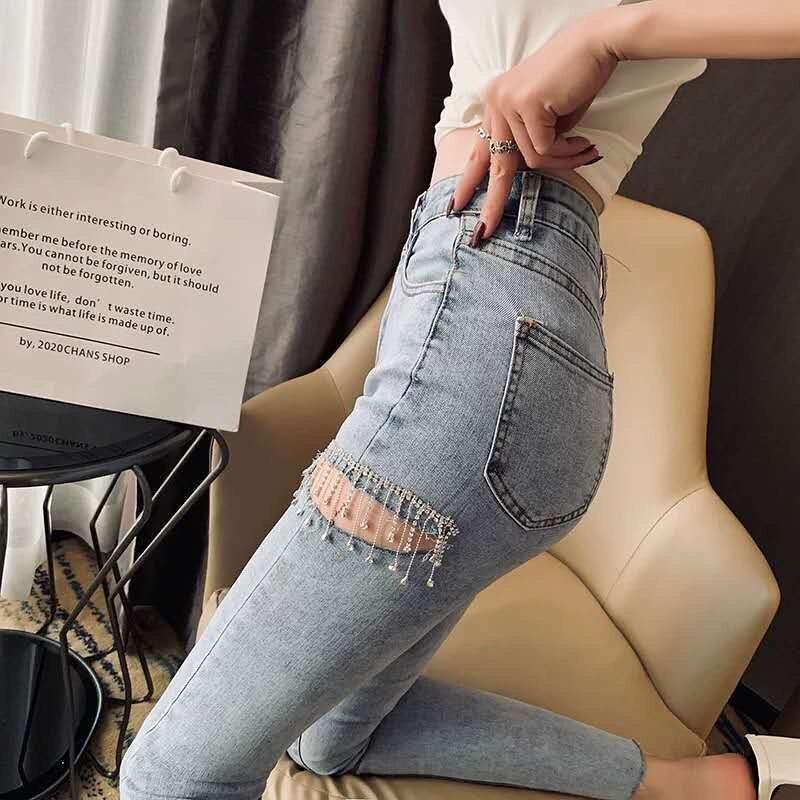 2020 New fashion Spring Summer Fashion Streetwear Thigh Cut Diamonds Tassel Skinny Jeans Women Denim Pants KZ566