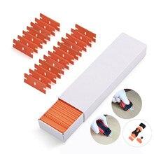 2 скребок+ 100 шт Пластиковые лезвия для бритвы с двойной окантовкой, скребок для очистки стекла, углеродное волокно, обертывание, автомобильная пленка, стикер, скребок