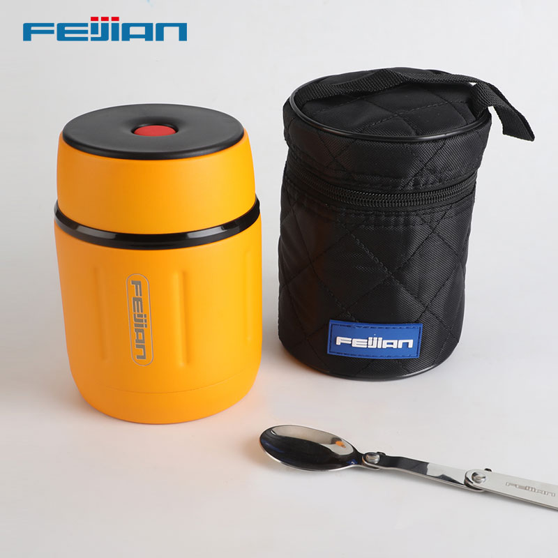FEIJIAN Lunch Box,Food Thermos 18/10 Stainless Steel,Portable Food Soup Containers Suitable For Home Office And Travel,500ML