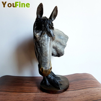 High end bronze horse head home decoration The latest color craft simulation animal chest deer head lion head custom models