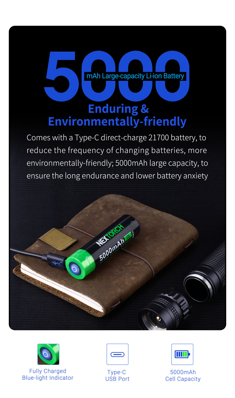 NEXTORCH 500Lumen Quick Charge White Laser Lep Flashlight Long Throw Light T10L