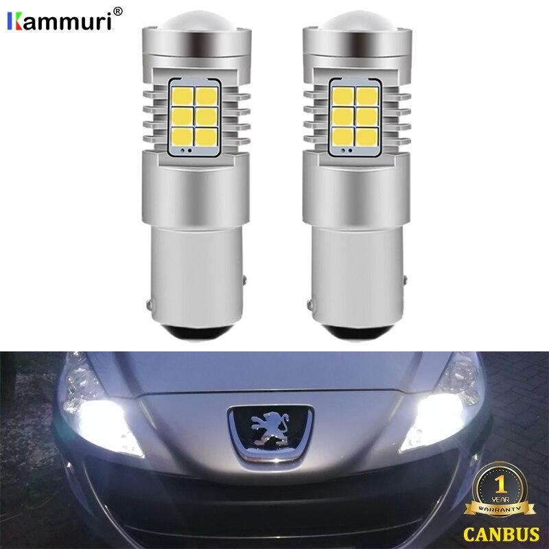 Светодиодные Автомобильные лампы kammusi (2), белые, без ошибок, 1157 P21/5 Вт, для Peugeot 308 408 3008 CRZ 2010 2011 2012, светодиодный дневные ходовые огни DRL|Сигнальная лампа|   | АлиЭкспресс