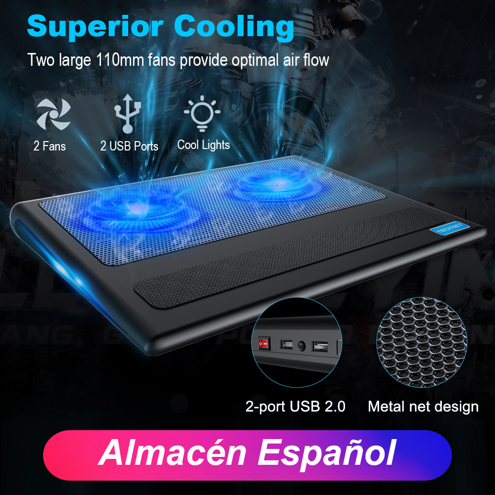 TeckNet Laptop and Notebook Cooling Pad 2 Fans Laptop Cooler fits 9  16 inch for Laptop PC Computer Cooling Pad-in Laptop Cooling Pads from Computer & Office